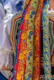 Detail of Polish folk costume for woman. With multicolored embroidery Royalty Free Stock Photo