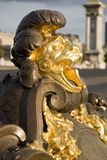 Detail on Pont Alexandre III Bridge. Detail of Lions Head on Pont Alexandre III Bridge in Paris, France, Europe Royalty Free Stock Photography