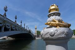 Detail of the pont Alexandre III bridge deck arch bridge royalty free stock photography
