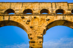 Detail of Pont du Gard aquaduct bridge pillars. France Royalty Free Stock Images