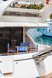 Detail of the poop of a luxury yatch. Royalty Free Stock Photography
