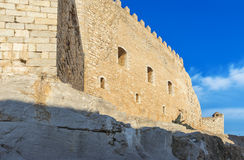 Detail of Pope Luna's  Castle in Peniscola, Valencia, Spain. Stock Photography