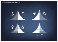 Detail of Population Pyramids Graphs Depend on Age and Sex Stock Photography