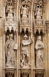 Detail of the portal of Zagreb Cathedral. Three statues of saints above the entrance of Virgin Mary Cathedral, Zagreb, Croatia Royalty Free Stock Photos