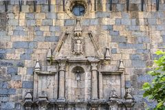 Detail of the church San Nicolás de Bari Burguete. Navarre Spain. stock photos