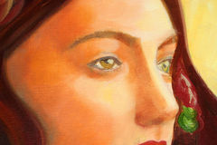 Detail of a portrait painting. Art is created and painted by photographer Royalty Free Stock Photo