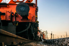 Detail of a Portuguese freight train. Detail of an red electric locomotive of a freight train Portuguese Royalty Free Stock Photos