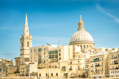 Detail postcard of old town La Valletta - Capital of Malta Royalty Free Stock Images
