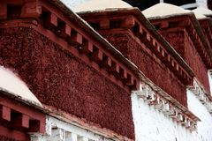 Detail of The Potala Palace. The red part of The Potala Palace under sunlight, in tibet Stock Photos