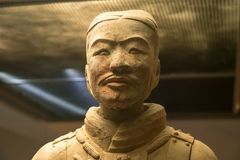 Terracotta Army warriors buried in Emperor tomb outside Xian China. Detail of the pottery terracotta army warriors and soldiers found outside Xi`an China royalty free stock photography