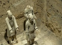 Terracotta Army warriors buried in Emperor tomb outside Xian China. Detail of the pottery terracotta army warriors and soldiers found outside Xi`an China stock images