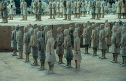 Terracotta Army warriors buried in Emperor tomb outside Xian China. Detail of the pottery terracotta army warriors and soldiers found outside Xi`an China royalty free stock images