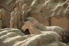 Terracotta Army warriors buried in Emperor tomb outside Xian China. Detail of the pottery terracotta army warriors and soldiers found outside Xi`an China stock photo
