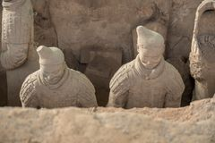 Terracotta Army warriors buried in Emperor tomb outside Xian China. Detail of the pottery terracotta army warriors and soldiers found outside Xi`an China stock photography