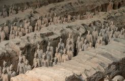 Terracotta Army warriors buried in Emperor tomb outside Xian China. Detail of the pottery terracotta army warriors and soldiers found outside Xi`an China royalty free stock photo