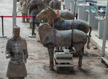 Terracotta Army warriors buried in Emperor tomb outside Xian China. Detail of the pottery terracotta army warriors and soldiers found outside Xi`an China stock image