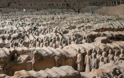 Terracotta Army warriors buried in Emperor tomb outside Xian China. Detail of the pottery terracotta army warriors and soldiers found outside Xi`an China royalty free stock photos