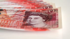 Detail of 50 pound banknotes with the face of the Queen of the united kingdom Royalty Free Stock Images