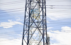 Detail of the power line pylon. A picture of electrical power transsmission lines that transfer electricity generate in the power station to the main intake Royalty Free Stock Photos
