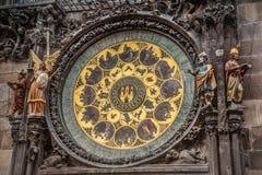 Detail of Prague astronomical clock Stock Photos