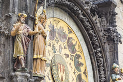 Detail of the Prague Astronomical Clock (Orloj) in the Old Town Stock Photography