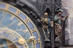 Detail of the Prague Astronomical Clock Orloj in the Old Town Royalty Free Stock Images