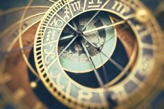 Detail of the Prague Astronomical Clock Orloj in the Old Town. Of Prague Royalty Free Stock Photography