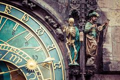 Detail of the Prague Astronomical Clock (Orloj) in the Old Town of Prague Stock Image