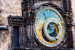 Detail of the Prague Astronomical Clock (Orloj) in the Old Town of Prague Stock Photos