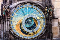 Detail of the Prague Astronomical Clock (Orloj) in the Old Town of Prague Stock Images