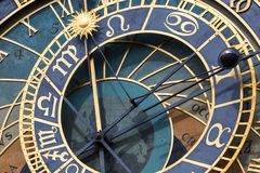 Detail of the Prague Astronomical Clock (Orloj) in the Old Town of Prague Stock Photos