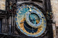 Detail of the Prague Astronomical Clock (Orloj) in the Old Town of Prague Royalty Free Stock Images