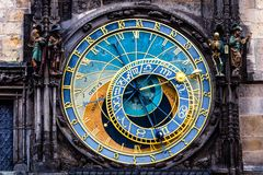 Detail of the Prague Astronomical Clock (Orloj) in the Old Town of Prague Stock Photography