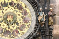 Detail of the Prague Astronomical Clock Orloj in the Old Town of Prague, Czech Republic Stock Photography