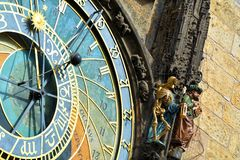 Detail of the Prague Astronomical Clock Orloj in the Old Town of Prague. Gothic, hours. Old medieval astronomical clock Orloj stock photos