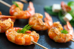 Detail of prawn brochette. Extreme close up detail of appetizing queen prawn brochette royalty free stock images