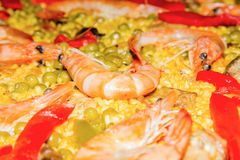 Detail of prawn in a traditional spanish paella stock image