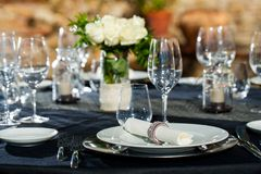Detail of prepaired dinner table. Royalty Free Stock Photos