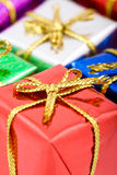 Detail presents box. Detail presents color box Christmas decoration Royalty Free Stock Image