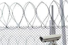 Detail of prison. Details of high security prison on winter day Royalty Free Stock Photo