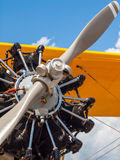 Detail of a Propeller Aircraft's Prop and Engine Stock Photo