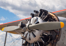 Detail of a Propeller Aircraft's Prop and Engine Stock Image