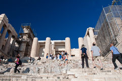 Detail of the Propylaea on July 1, 2013 in Greece. Acropolis, Athens Royalty Free Stock Image