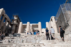 Detail of the Propylaea on July 1, 2013 in Greece. Acropolis, Athens Royalty Free Stock Photography