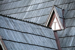 Detail of protective wooden shingle on roof Stock Image