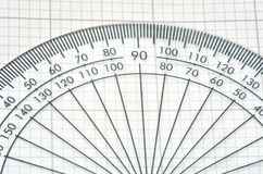 Detail of protractor. Detail of traditional plastic protractor royalty free stock photography