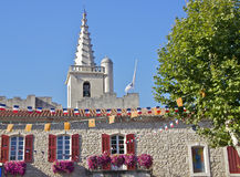 Detail of Provence Village Architecture. Typical church spire and store house. Chateaurenard, Provence, France Royalty Free Stock Photos
