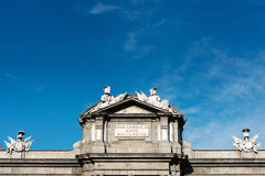 Detail of the Puerta de Alcala gate in Madrid Royalty Free Stock Image