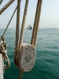 Detail of pulley and hoist of a schooner Stock Photography