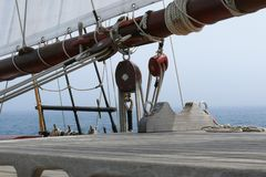 Detail of pulleys and hoists of a schooner Royalty Free Stock Photography